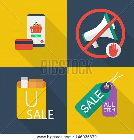 Set of great flat icons with style long shadow icon and use for electronics, commerce, marketing and much more.