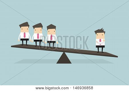 One businessman on one side of weighing scale is heavier than many executives the other side.