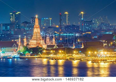 Wat Arun Buddhist religious places at night scene Bangkok Thailand