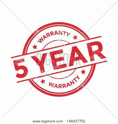 5 year warranty icon isolated on white background