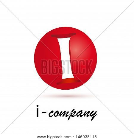 Vector sign spherical initial red letter I