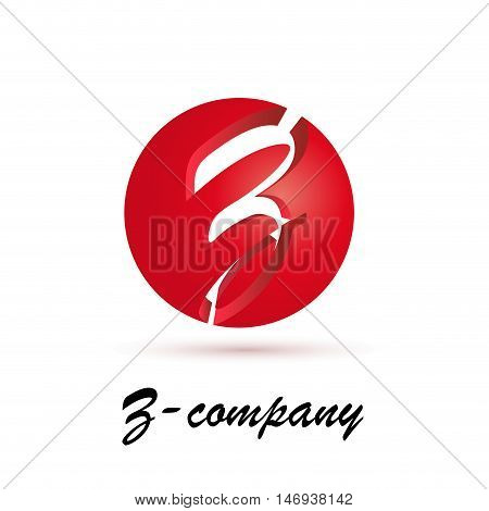 Vector sign spherical initial red letter Z