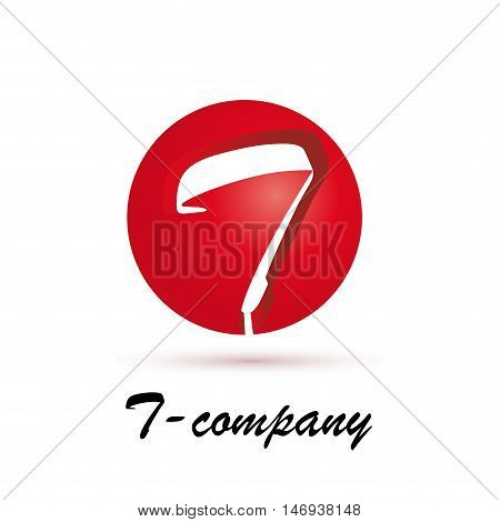 Vector sign spherical initial red letter T