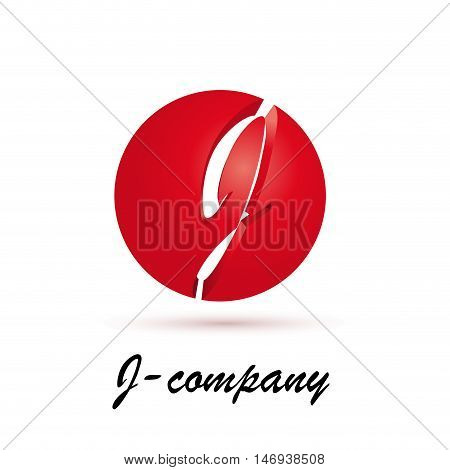 Vector sign spherical initial red letter J