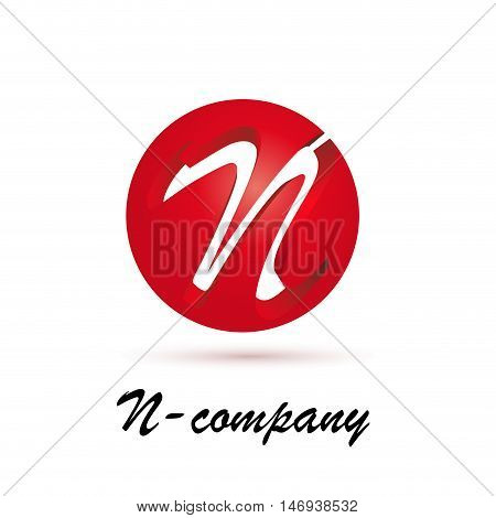 Vector sign spherical initial red letter N