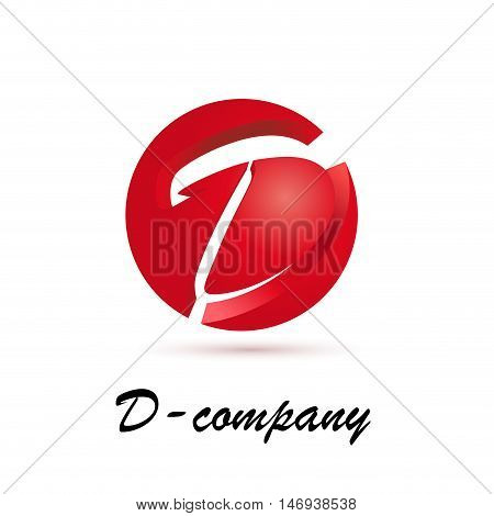 Vector sign spherical initial red letter D