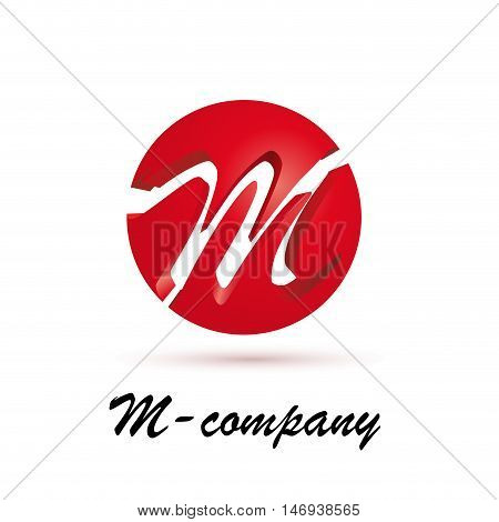 Vector sign spherical initial red letter M
