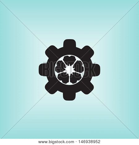 Cogwheel vector icon. Cogwheel mechanism vector logo.