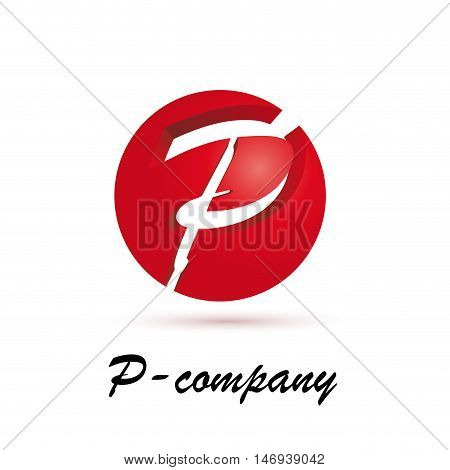 Vector sign spherical initial red letter P