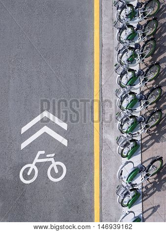 Bicycle Lane signage with bicycle parking on street Urban city top view