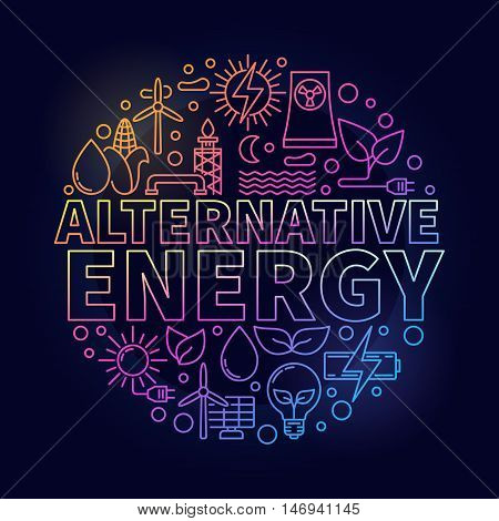 Alternative energy colorful illustration. Renewable energy round concept symbol made with thin line icons on dark background