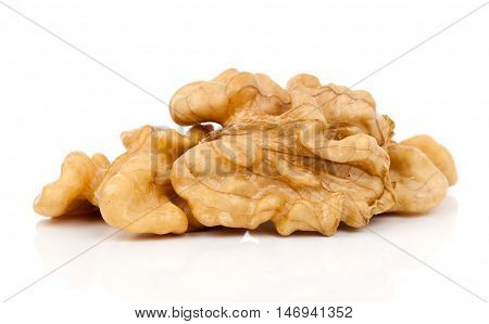 heap walnuts isolated on a white background