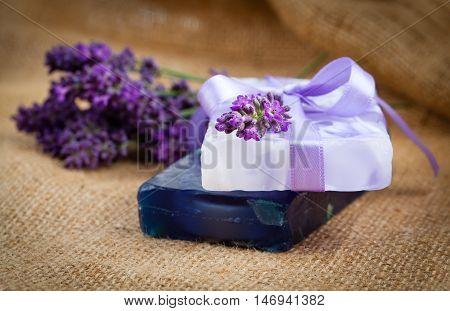 handmade lavender soap with fresh lavender flower