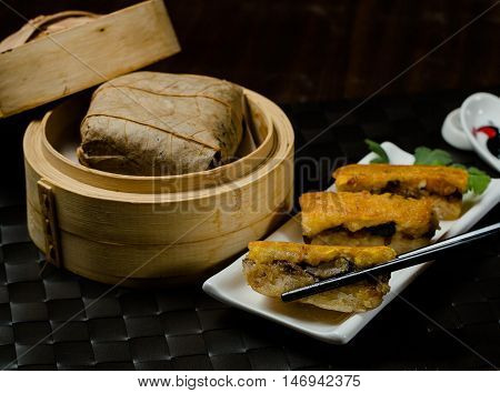 Sticky rice dumpling and deep fry Chinese dim sum