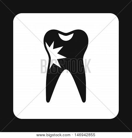 Human tooth with caries icon in simple style isolated on white background vector illustration