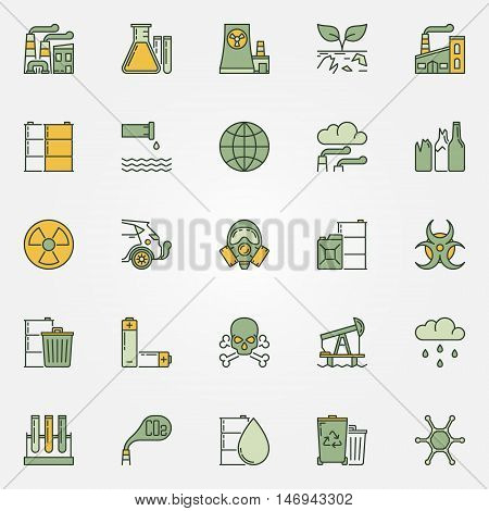 Colorful pollution icons. Vector collection of dark green ecological problems signs. Water and air pollution flat symbols