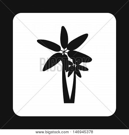 Twins palm trees icon in simple style isolated on white background vector illustration