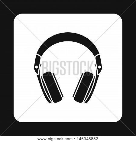 Headphones icon in simple style isolated on white background. Music symbol vector illustration