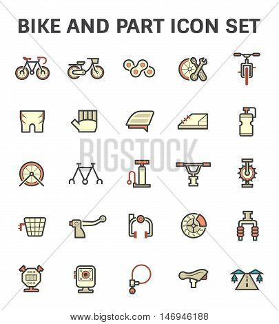Bike and part vector icon set, flat and color style.