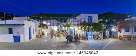 Paros, Greece 02 August 2016. People enjoying their summer vacations at Lefkes village in Paros island in Greece.