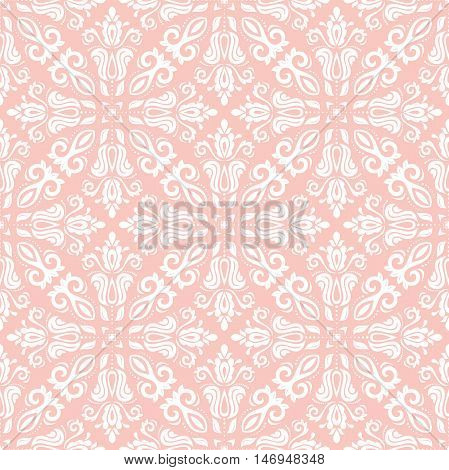 Seamless baroque vector pink and white pattern. Traditional classic orient ornament