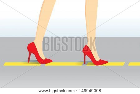 Walk training in high heels shoes follow yellow line on the floor. Illustration about beauty and fashion.