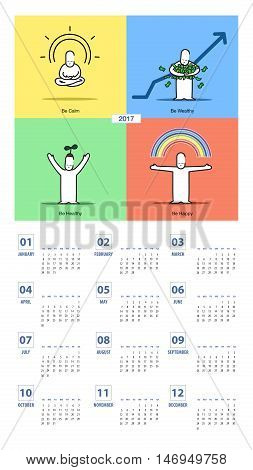 Vector Of Calendar 2017 Year With Doodle Cartoon Emotion In Colorful Style,cartoon Blessing Card