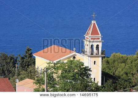 Church on the top of the Bohali  hill in Zakynthos Greece