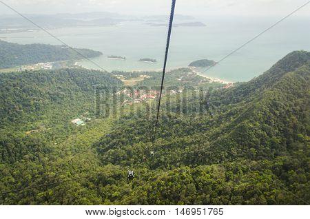 LANGKAWI, MALAYSIA : Langawi sky cab at Burau Bay Resort in Langkawi. It is an aerial link from near Burau Bay Resort to the peak of Gunung Machinchang.