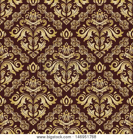 Seamless baroque vector gold pattern. Traditional classic orient ornament