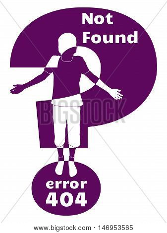 error 404 not found vector illustration very dark magenta child silhouette with question mark on white background