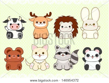 Collection of cute baby animals in kawaii style. Cat, rabbit, panda, hedgehog, raccoon, deer, bear, cow. On retro background with dots pattern and lace