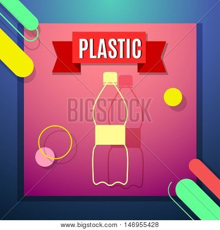 Waste sorting flat icon with plastic bottle and text. Vector concept illustration template sorting waste red sticker modern design.