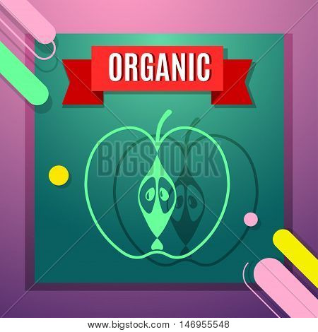 Organic waste flat icon with apple and text. Vector concept illustration template sorting waste organic green sticker.