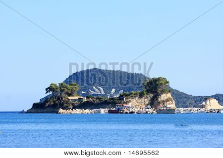 Little island Cameo with footbridge Laganas Zakynthos island