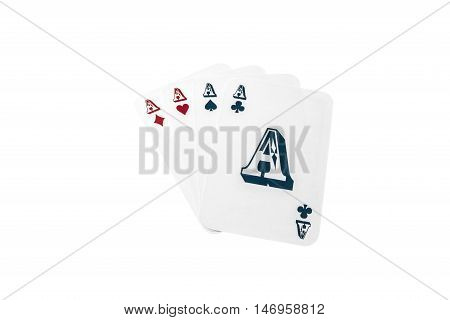 Set of poker cards with four different aces