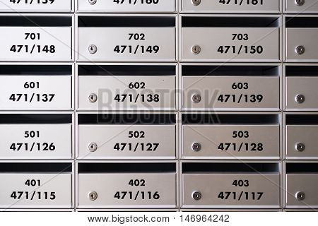 Details of resident,building and office mailboxes. interior object.