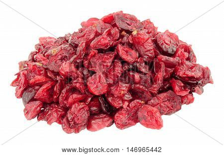 Dried red cranberries isolated on a white background