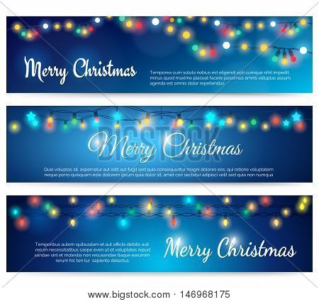 Christmas header with string lights. Xmas or Merry Christmas blue banners with garland bulb lights vector illustration