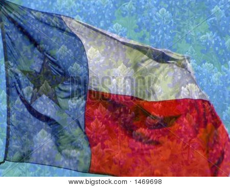 Texas Flag With Beautiful Bluebonnet Background