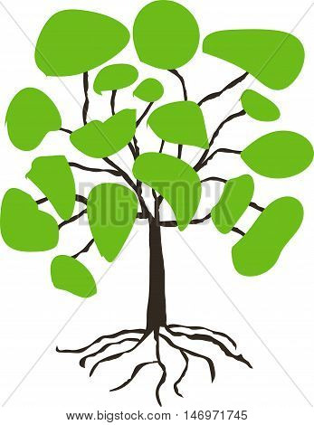 Stylised hand drawn tree with green crown on white, vector illustration