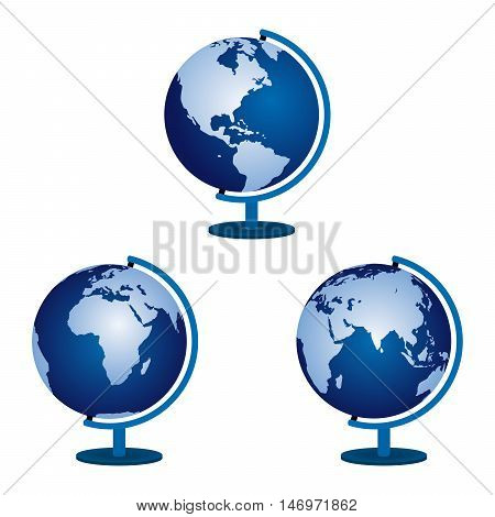 Three globe on a white background. Vector illustration