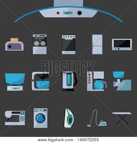 Set of household appliances flat icons on black background