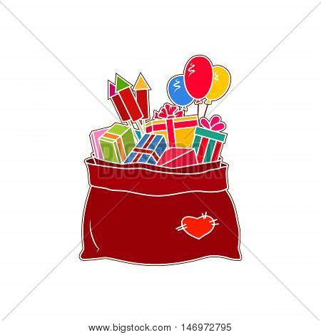Red Bag of Santa Claus with Gifts Isolated on White Background, a Bag with Gifts and Multicolored Firecrackers and Balloons, Vector Illustration