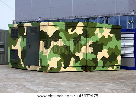 Camouflaged hangar - Mobile staff module (MSH) of metal and plastic components with built-in means of communication allowing to control the operational group of troops