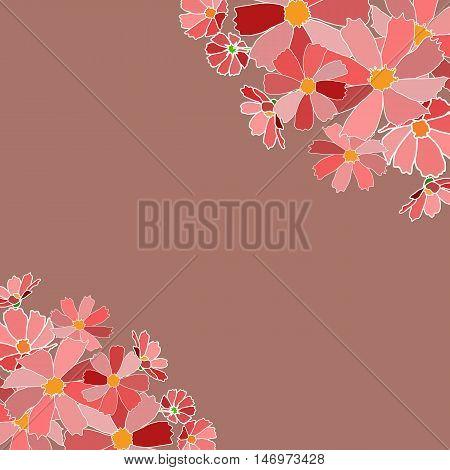 vector illustration background card claret shades op pink flowers bouquet frame