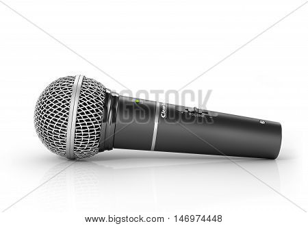 Microphone on a white background. 3d illustration