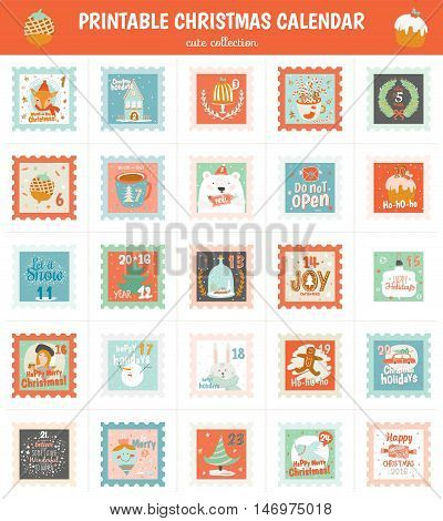 Printable advent calendar in vector. Christmas beautiful cheerful cute stamp with animals, fir tree, snowman, angel, gifts, toys, snow, sweets and others. Lovely winter cartoon cards for decoration