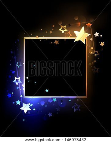Square banner with contrasting glowing blue and golden stars on a black background. Design with stars. Design for a party. Bright color.