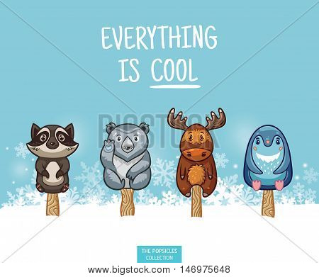 Set of ice cream on a stick with cartoon animals on blue background. Cute animal popsicles collection with raccon, polar bear, moose and penguin in the snow. Everything is cool